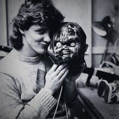 Effects artist Kevin Yagher and Chucky behind the scenes on Child's Play.