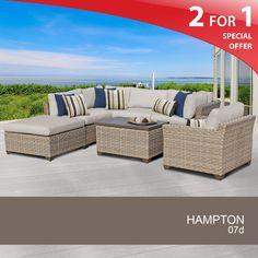 Hampton 7 Piece Outdoor Wicker Patio Furniture Set 07d - Design Furnishings - 1 ottoman, 1 chair, and 2 cushion colors $1388