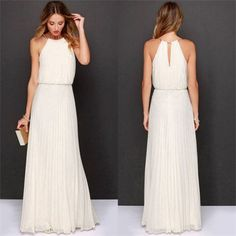2017 Chiffon Beach Dresses Vestidos Robe Femme Summer Dress Women Long Elegant Halter Off Shoulder Maxi Tunic Dress White Party Elegant Maxi Dress, Elegant Bridesmaid Dresses, Maxi Dress Wedding, Boho Dress, Casual Dresses, Fashion Dresses, Wedding Bridesmaids, Dress Beach, Beach Dresses
