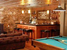 Cool Ideas for the Ultimate Man Cave Bar Man Cave Basement, Man Cave Garage, Basement Pool, Barn Garage, Garage Bar, Basement Bars, Décoration Candy Bar, Custom Pool Tables, Pool Table Room