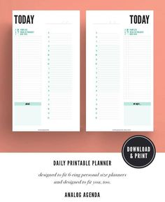 Printable Planner   Undated Planner Pages   Today   Daily   Minimalist   Personal Planner Size   Instant Download