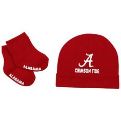 Alabama Crimson Tide Infant Stork Cap & Booties Set - Crimson