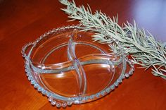 Vintage Clear Glass Dish, Clear Round Imperial Glass Candlewick Hobnail Divided Relish Dish