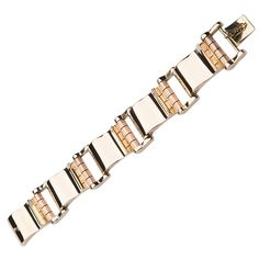 Yellow and Rose Gold Retro Link Bracelet | From a unique collection of vintage retro bracelets at https://www.1stdibs.com/jewelry/bracelets/retro-bracelets/