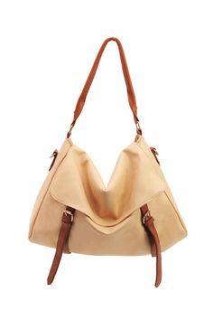 high capacity korean shoulder bag in ivory $59