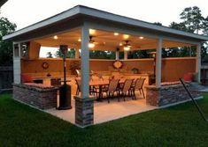 Com outdoor covered patios, covered patio diy, outdoor patio bar, outdo Outdoor Patio Bar, Outdoor Kitchen Bars, Backyard Kitchen, Outdoor Kitchen Design, Rustic Outdoor, Pergola Patio, Diy Patio, Outdoor Rooms, Backyard Patio