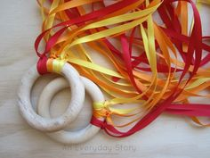ribbon wands for imaginary play from an everyday story Playing with Fire Fire Safety Crafts, Fire Crafts, Fire Safety Week, Vbs Crafts, Community Helpers Lesson Plan, Fire Prevention Week, Lesson Plans For Toddlers, Movement Activities, Infant Activities