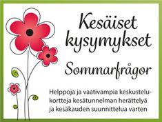 Kesäiset kysymykset ryhmätoimintaan – eritasoisia kysymyskortteja Viria, Words, Aphasia, Horse