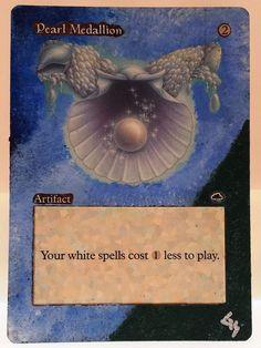 MTG Magic PEARL MEDALLION Hand Painted Altered Art Card OOAK #WizardsoftheCoast