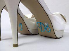 I Do Shoe Stickers in Aqua/Tiffany Blue; rhinestone shoe stickers, wedding shoe stickers, shoe decals, I DO stickers, something blue, #wedding $8.95
