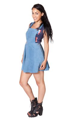 cute bib-overall skater dress in pale blue fine corduroy from BibOverallsOnline - available US size 6 - 12 and retail at $46.99 #dungareedress #biboveralldress