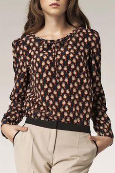 could add a band to bottom of a pleated peasant style blouse with contrasting colour like the pants band :)  Nife - Erika Tie Front Blouse in Birds