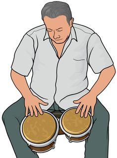 ボンゴの奏者 Elementary Music Lessons, Body Action, Percussion, African Art, Musical Instruments, Human Body, Cuba, Salsa, How To Plan
