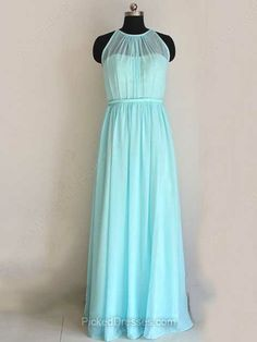 Blue Chiffon Ruffles Scoop Neck Floor-length Vintage Bridesmaid Dresses #PDS01012447