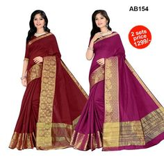 COMBOS-Maroon and Pink Color Cotton Silk Saree- 1159,1160