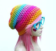rainbow slouch beanie @Rebekah Poe do you think you could make me this? I'll pay for it if you want?