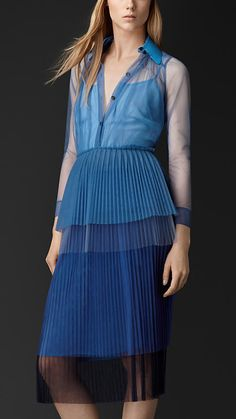 Burberry Prorsum Bright Steel Blue Pleated Tulle Shirt Dress - A featherlight pleated tulle tiered shirt dress.  The top features a contrast collar in a patent technical fabric. Discover the women's dress collection at Burberry.com