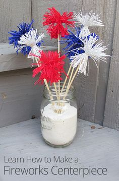 Add some explosive fun to your Independence Day picnic table! Learn to create cute firework decorations that make for a patriotic and festive centerpiece. 4th Of July Fireworks, Fourth Of July, Happy Birthday Grandma, July Birthday, Art N Craft, Patriotic Decorations, Grad Parties, Cooking With Kids, Table Centerpieces