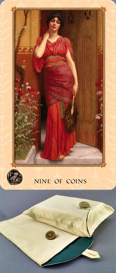 Tarot of Delphi: A Fine Art Tarot Deck & Booklet, $35. Artisan-sewn Tarot Bag made from original, antique French Victorian Silk and Art Nouveau Button, $43. U.S. orders ship 2-Day Priority Mail.