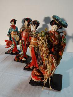 4 Lovely Vintage Traditional Tall Japanese Geisha Dolls Japan, C1955-70