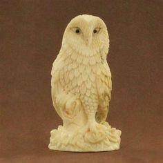 Cream Antler Owl Carving. $129.00