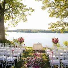 wedding on the lake= this was our idea for the wedding but reception area would have been a challenge. But I will love to decorate for a lake wedding someday. Wedding Tips, Trendy Wedding, Elegant Wedding, Wedding Bride, Perfect Wedding, Wedding Ceremony, Our Wedding, Wedding Dresses, Reception