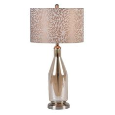 "Champagne Floral Table Lamp. 31""h"