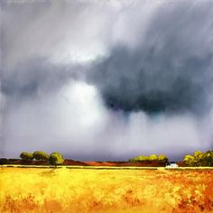 Artist: Barry Hilton Title: Autumn Shower Medium: Giclee on Canvas Edition Copies: 95 Image Size: 24 x 24 Finish: Print Only or Framed Watercolor Sky, Watercolor Landscape, Landscape Art, Landscape Paintings, Sky Painting, Sky And Clouds, Painting Techniques, Painting Inspiration, Scenery