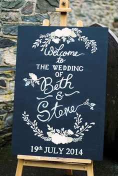 Chalkboard Wedding Sign - Image by Samantha Ward Photography