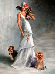 Yorkshire Terriers with lady original oil painting on canvas by Roberta C