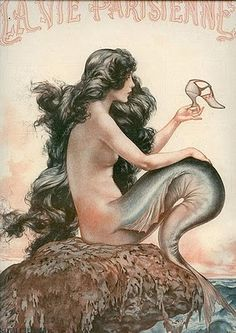 Vintage mermaid poster. This made me smile...never thought about the fact that mermaids can't wear shoes. Poor mermaids.