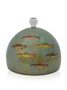 Victoria Fischetti Little Fish Dome Handmade Decoupage