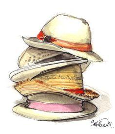 fashion illustration, fedoras, hats, savys art illys, stack of hats, style, summer hats, svitlana m, svitlana martynjuk, vogue, watercolor,