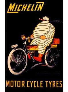VintageArte ♥- Michelin Bibendum Motorcycle Tire Poster : Posters and Framed Art Prints Available