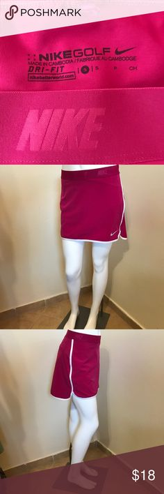 Nike Golf Pink Dri-Fit Skort Skirt Short Sz S 2 4 Label-Nike Golf  Style-Golf Skort, Elastic Logo waistband, back slit pockets, shorts underneath. White logo swoosh and white gym short trim.  Size-Small Firs a 2 or 4. Shown on a size 0 mannequin rums just a bit big for her.  Measurements- W-28 Hips- 3 Length-14 inches. Color-Raspberry Pink, white trim Fabric-Polyester Nike Golf Shorts Skorts