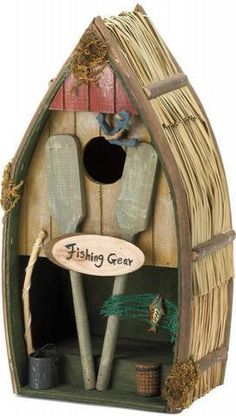Fishing Boat Bird House. This is a house boat for birds! What fisherman wouldn't rather be living in his fishing boat? His dreams can come true for a lucky bird family. #birdhousetips