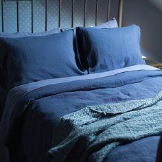 Cobalt Washed Bed Linen Duvet