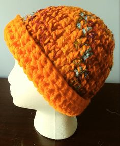 Crochet Beanie BRIGHT Orange Red and Multi-Colored adult