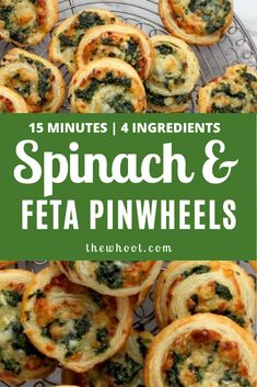Spinach And Feta Pinwheels 4 Ingredient Recipe How To Make Spinach, Food To Make, Vegetarian Appetizers, Appetizer Recipes, Frugal Meals, Quick Easy Meals, Asian Recipes, Healthy Recipes, Yummy Recipes