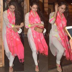 Sara Ali Khan's dresses are not only comfy and chic, but easy to copy. See her best 15 looks Pakistani Dresses, Indian Dresses, Indian Outfits, India Fashion, Suit Fashion, Indian Designer Suits, Designer Kurtis, Designer Dresses, Indian Girls Images