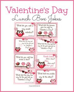 Printable Valentine's Day Lunch Box Notes Using Valentines Jokes for Kids - Coupons Are Great