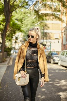 Favourite London Fashion Week outfit with Maje Suede tanned Jacket, For Love and Lemons black mesh Body, Hush Leather Leggings, Reiss black suede Boots, Chloe Drew in arctic white, Larsson and Jennings rose gold Watch, Ray Ban Aviators