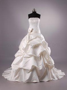 champagne wedding dresses | Strapless Princess Chapel Train Champagne Wedding Dress h8lbhs9626g