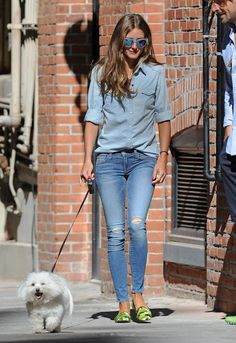 Olivia Palermo. denim on denim & neon green flats.