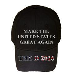 100% Black Cotton Adjustable Hat - United States - Presidential Candidate Design