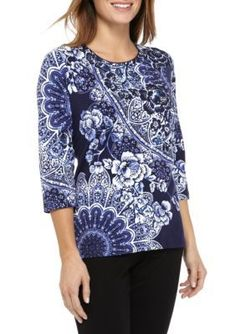 Alfred Dunner Women's Petite Royal Jewels Medallion Knit Top - Amethyst - Pxl