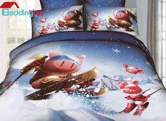 New arrival cute cartoon pig pattern duvet cover set here Buy link>>>http://urlend.com/qieimaR Live a better life, start with Beddinginn http://www.beddinginn.com/product/New-Arrival-Lovely-Skiing-Cartoon-Pigs-4-Piece-Bedding-Sets-10872523.html