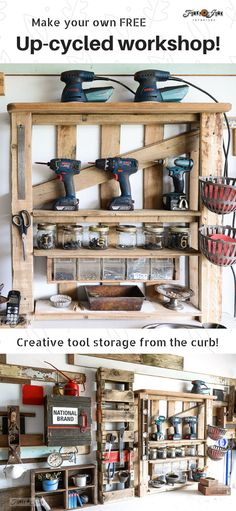 Learn how this upcycled workshop was created for free from all up-cycled finds! Includes tons of great tool storage and organizing ideas! Garage Storage Solutions, Shed Storage, Garage Organization, Diy Storage, Storage Shelves, Tool Storage, Storage Ideas, Organizing Ideas, Pallet Shelves Diy
