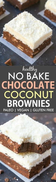 Healthy No Bake Chocolate Coconut Brownies (Paleo, Vegan, Gluten Free)- Easy, one bowl no bake bars which are a guilt-free sweet fix ready in minutes!