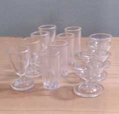 12 Piece Miniature Glasses, clear plastic, dollhouse doll glasses, wine glasses, vintage miniatures drinking glasses.
